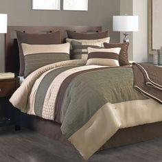 Lexiara 10-Piece Comforter Set in Taupe/Brown - BedBathandBeyond.com