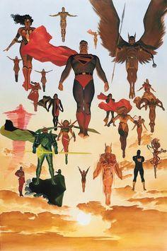 Kingdom Come by Alex Ross - comicbooks Dc Comics Heroes, Dc Comics Art, Batman Comics, Comic Books Art, Comic Art, Superman Story, Superman Art, Geek Art, Vintage Comics