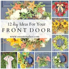 12 ideas for seasonal front door decor ~ all DIY and budget-friendly! neat idea for tow. Wreath Crafts, Diy Wreath, Door Wreaths, Diy Projects To Try, Craft Projects, Craft Ideas, Seasonal Decor, Holiday Decor, Front Door Decor