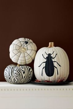 Two graphic shades get the point across clear and simple. Use the free template to trace this bug specimen or sketch out a creepy silhouette of your own. Click through for a tutorial and more painted pumpkin decorating ideas for Halloween.