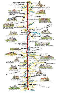 """The Beer and Castle Route is a 500 km journey along the from Bad Frankenhausen in Thuringia to Passau the """"City of the Three Rivers"""" in Bavaria. Germany Europe, Bavaria Germany, Germany Travel, European Vacation, European Travel, Holidays Germany, Romantic Road, Germany Castles, Reisen In Europa"""