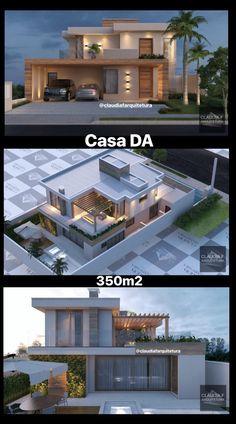 Casa DA / Cláudia F Arquitetura Projeto residencial / Cláudia F Arquitetura # Modern House Facades, Modern Architecture House, Modern House Plans, House Floor Plans, Architecture Layout, Dubai Architecture, Chinese Architecture, Bungalow House Design, House Front Design