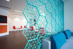 Designed by Janne Kyttanen, the Macedonia Space Divider from Freedom of Creation (FOC) is a modular wall system created out of repetitive honeycomb-shaped hexagons that can assume various snap-lock configurations:. Office Dividers, Space Dividers, Wine Bottle Wall, Divider Design, Divider Ideas, Modular Walls, Commercial Interiors, Cool Rooms, Interior And Exterior