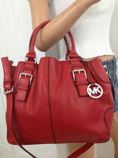 Michael Kors Red Brookville Large Drawstring Leather Crossbody Tote Bag Purse