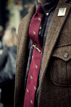 shooting birds men style tweed prep preppy tie clip