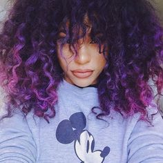 Fulfill Your Purple Dreams with These 50 Purple Ombre Hair Ideas - My New Hairstyles Purple Ombre, Hair Color Purple, Purple Tips, Purple Hair Black Girl, Violet Ombre, Hair Colors, Black Girls, Black Hair, Curly Purple Hair