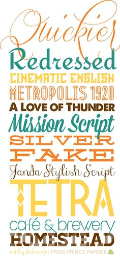 A tiny bit of typography: #free fall #fonts | Quickier, Redressed, Cinematic English, Metropolis, A Love of Thunder, Mission Script, Silverfake, Janda Stylish Script, Tetra, Café & brewery, Homestead