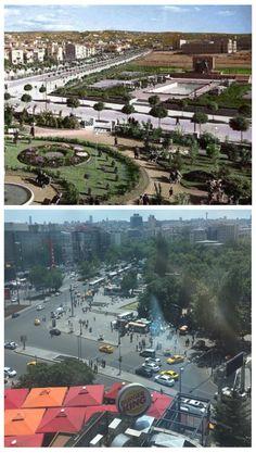 """Antoloji Ankara on Twitter: """"Kızılay Meydanı'nın dünü ve bugünü... Sol alttaki Kızılay Genel Müdürlüğü bahçesinin yerinde yeller esiyor... https://t.co/HOi0ev5OkA"""""""