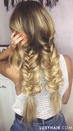 Double thick braids with Seamless Luxy Hair extensions in Blonde Balayage!
