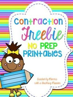 Contraction No Prep Printables. In this set there are 3 printable pages, 2 which are similar re-write the sentences using contraction (they are differentiated to different level of students) and the printable is a puzzle with the 2 words that make a c 2nd Grade Ela, First Grade Reading, First Grade Classroom, Second Grade, Grade 2, Future Classroom, Teaching Grammar, Teaching Writing, Student Teaching