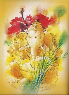 Shri Ganesh Images, Ganesha Pictures, Lord Ganesha Paintings, Ganesha Art, Indian Gods, Indian Art, Om Gam Ganapataye Namaha, Ganesh Lord, Lord Shiva