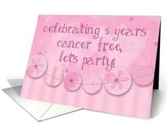 5 Year Cancer Free Party Invitation, Pink... | Greeting Card Universe
