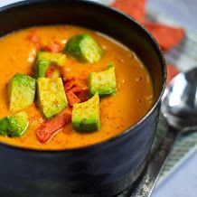 Sweet chipotle potato soup with avocado