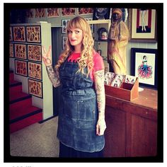 Guen Douglas, Tattoo Artist wearing a Search and Rescue Denim Apron  #tattooapron #denimapron #customapron #waxedapron #tattooartist #tattoos #rawdenim #waxeddenim by http://searchandrescuedenim.com/