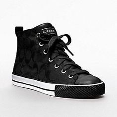 A Coach take on the hightop, in signature fabrics with custom grommets, decorative stitching and bold bands of rubber trim
