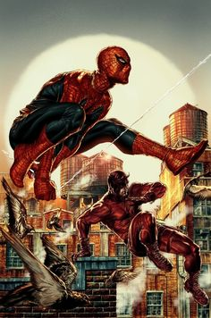 Here's an awesome piece of variant cover art for Daredevil #8 created by Lee Bermejo featuring Dardevil and Spider-Man kicking ass, side by side, in Hell's Kitchen.