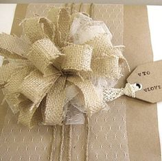 Hey, I found this really awesome Etsy listing at http://www.etsy.com/listing/166902844/gift-wrap-bow-burlap-lace-gift-tag-paper