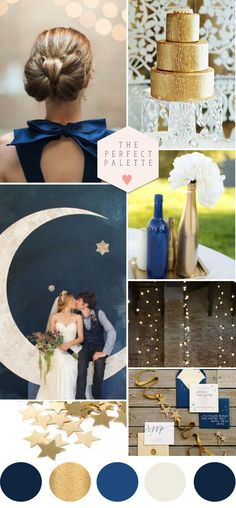 Twinkle Twinkle Little Star: Blue + Gold Wedding Inspiration. Blue Gold Wedding, Fall Wedding, Dream Wedding, Moon Wedding, Wedding Color Schemes, Wedding Colors, Wedding Themes, Wedding Decorations, Wedding Theme Ideas Unique