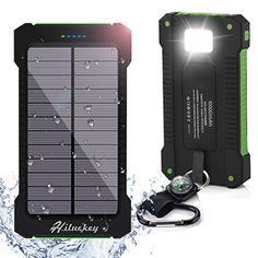 Solar Ladegert 10000mAh Hiluckey Power Bank Tragbar Dual USB Externer Akku Backup Batterie mit LED Taschenlampe f�r iPhone, iPad, Android-Handy, Tablet, Kamera usw. wasserdicht,sto?fest und, staubdicht