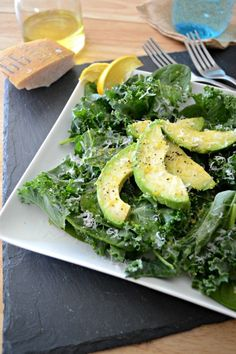 Avocado Kale and Spinach Salad Ingredients: 1 Ripe Avocado, pitted and sliced 2 Cups Fresh Spinach Leaves 2 Cups Kale, stems removed and chopped Zest of ½ Lemon 1 ½ Tablespoons Fresh Lemon Juice 2 Tablespoons Olive Oil ¼ Teaspoon Fresh Cracked Black Pepper Tiny Pinch of Sea Salt (optional) 1 Tablespoon Grated Parmesan