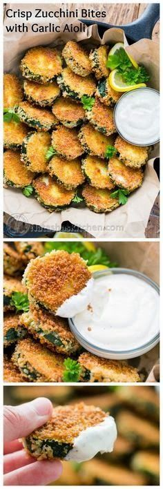 all-food-drink: Crisp Zucchini Bites with Garlic Aioli