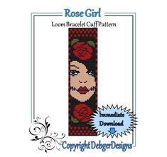 Rose+Girl++Loom+Bracelet+Cuff+Pattern+by+LoomTomb+on+Etsy,+$4.50