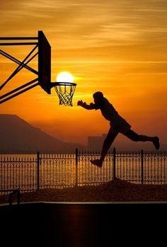 cool sun set basketball photo