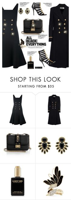 """Monochrome: All Black Everything"" by jelenalazarevicpo ❤ liked on Polyvore featuring Dolce&Gabbana, Yves Saint Laurent, Valentino, Monet, Elizabeth and James and Lanvin"