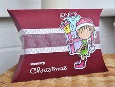 Christmas gift pillow box using Bugaboo elf stamp