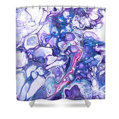 Fluid Acrylic Purple Fantasy 2 Shower Curtain by Jenny Rainbow. This shower curtain is made from polyester fabric and includes 12 holes at the top of the curtain for simple hanging. The total dimensions of the shower curtain are wide x tall. Artwork For Home, Home Art, Curtains With Rings, Curtains For Sale, Fluid Acrylics, Different Patterns, Basic Colors, Abstract Pattern, Shower Curtains