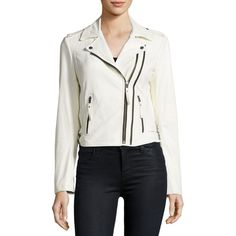 Joie Hayworth Leather Moto Jacket ($998) ❤ liked on Polyvore featuring outerwear, jackets, white, women's apparel jackets, white leather jacket, leather motorcycle jacket, real leather jackets, white biker jackets and cropped moto jacket