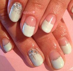 light blue deep french nail #glitter #nailart #gelnail