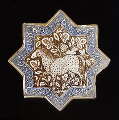 Origin: Iran, Kashan | Period: circa 1300 | Collection: The Nasli M. Heeramaneck Collection, gift of Joan Palevsky (M.73.5.377) | Type: Ceramic; Architectural element, Fritware, overglaze luster-painted, with cobalt blue, Diameter: 8 1/4 in