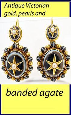 Antique Victorian Earrings 18k Gold Banded Agate Pearl Pendant Earrings