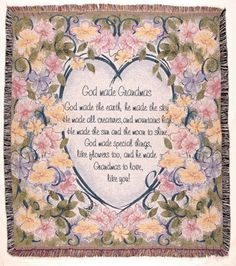 """""""God Made Grandmas"""" Floral Tapestry Throw Blanket 50""""x 60"""" - With Love Home Decor"""