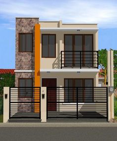 Small 2 storey house these narrow house designs are perfect if you have small space or . small 2 storey house double storey house plans with balcony House Outer Design, Two Story House Design, Modern Small House Design, 2 Storey House Design, Duplex House Design, House Front Design, Minimalist House Design, Modern House Plans, House Floor Plans