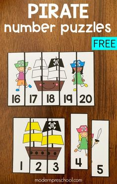 Printable Pirate Number Puzzles for Preschoolers