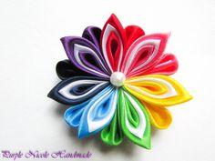 Rainbow - Handmade Floral Broach by Purple Nicole (Nicole Cea Mov), colored handmade kanzashi satin flower