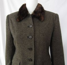 Stylishly Frugal - Ralph Lauren - Tweed Skirt Suit with Faux Fur - 8 Petite, $49.99 (http://www.stylishlyfrugal.com/ralph-lauren-tweed-skirt-suit-with-faux-fur-8-petite/). Brown tweed skirt suit with faux fur collar. Both jacket and skirt are lined. Skirt has back button pocket and a back slit. Formal interview suit with class! Interview collection.