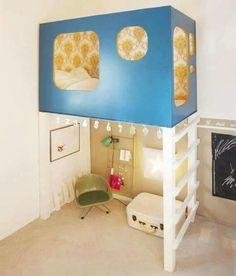 kids loft bed cutest kids room ever Awesome Bedrooms, Cool Rooms, Small Rooms, Small Spaces, Open Spaces, Awesome Beds, Totally Awesome, Kid Spaces, Cool Loft Beds