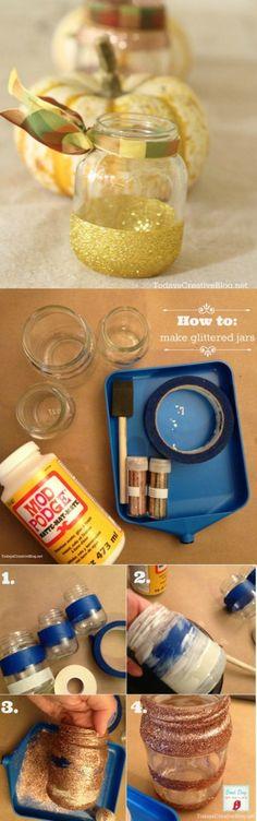 How to Glitter Jars   TodaysCreativeBlog.net Mod Podge, glitter, fall decor, fall table