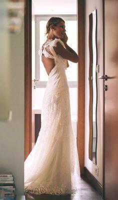 YolanCris   Marine Bouvier, french marriage in boho chic wedding dress by YolanCris.