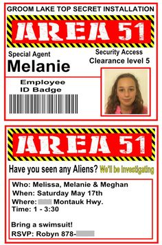 Roswell Area 51 High security clearance badges. Birthday party idea. Sublimation lanyard.