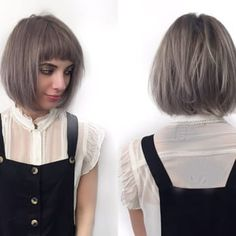 Short bob with razored layers and soft undercut. Cute short mod bangs and lavender violet color. By Denessa Sims - Yelp