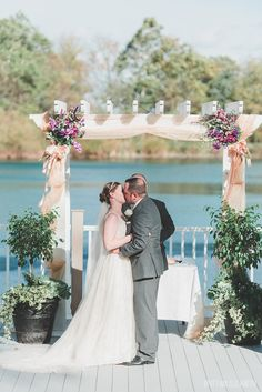 First Kiss | Plum Flowers at the Lodges at Gettysburg Wedding | Fall Wedding » Brittani Elizabeth Photography