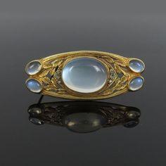 Art Nouveau Rose Cut Diamond & Large Moonstone 14K Gold Floral Pin Brooch