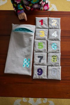 What a cute ideas - love the little bag.         Tutorial can be found at http://chezbeeperbebe.blogspot.com/2010/01/tutorial-and-pattern-counting-bean-bags.html