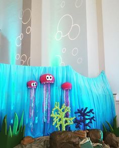 Submerged VBS idea: jellyfish made from paper lanterns and streamers