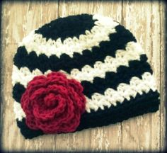 LOVE the classic black white and red #Crochet hat