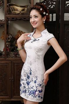 iRicheraf White Chinese Traditional Dress New Arrival Women Mandarin Collar Slim Low Vents Cotton Cheongsam Short Qipao Top Hot. Dress Skirt, Dress Up, Cheongsam Dress, Batik Dress, Ao Dai, Traditional Dresses, Asian Fashion, Designer Dresses, Beautiful Dresses